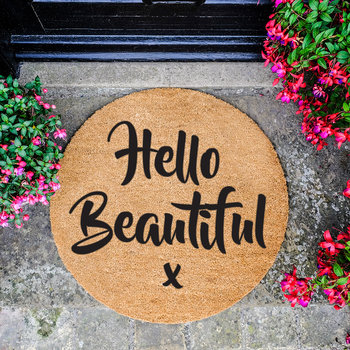 Hello Beautiful Door Mat - Round