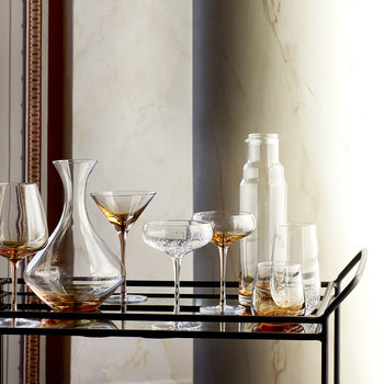 Amber Mouth Blown Wine Glass - Clear/Caramel - White Wine