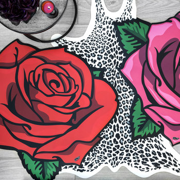 Rose Vinyl Floor Mat - Red