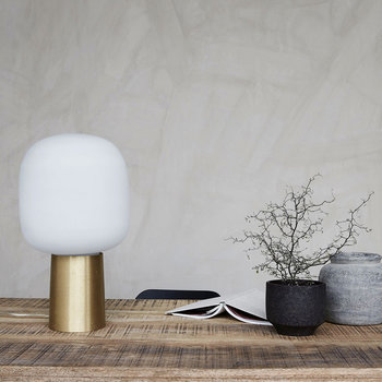 Note Table Lamp - White/Brass