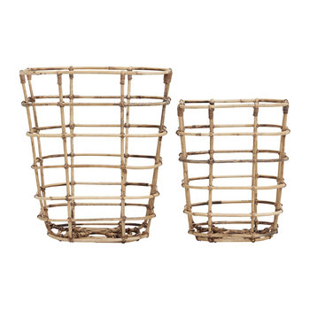 Open Square Baskets - Set of 2 - Rattan