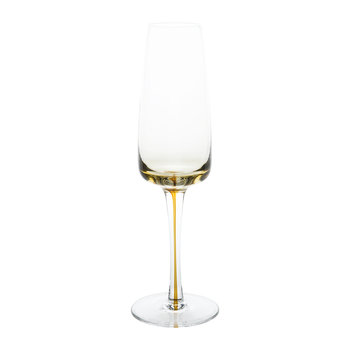 Amber Mouth Blown Champagne Glass - Clear/Caramel