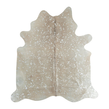 Metallic Acid Cowhide Rug - White/Silver