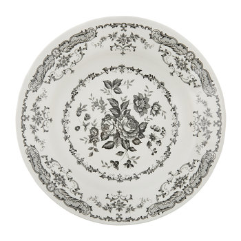 Rose Patterned Soup/Pasta Bowl - Black