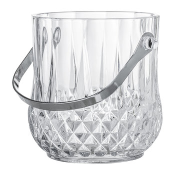 Art Deco Textured Glass Ice Bucket With Handle