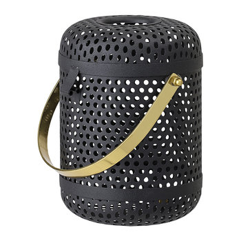 Black Metal Lantern With Gold Handle