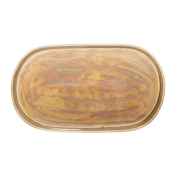 Paula Iridescent Stoneware Tray - Brown