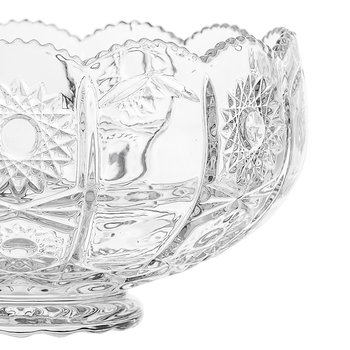 Art Deco Textured Glass Punch Bowl - Clear