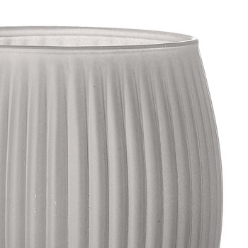 Ridged Glass Toothbrush Holder - Grey