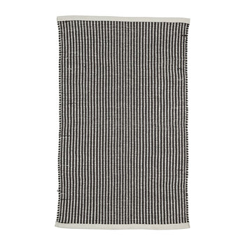 Striped Cotton Rug - Black/Natural - 90x60cm