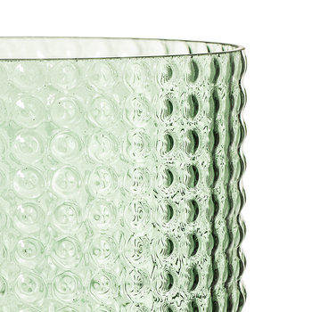 Dotted Cylindrical Glass Vase - Green - 16.5cm
