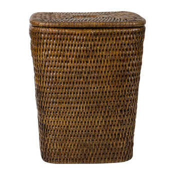 Square Lidded Trash Can - Teak
