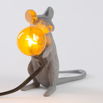 Grey Mouse Lamp - Sitting