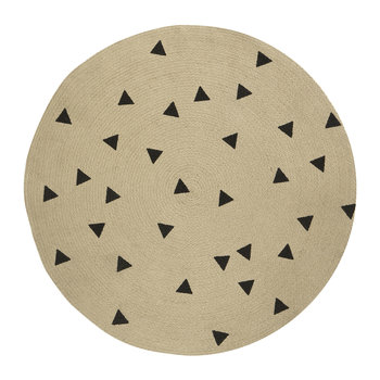Jute Round Rug - Black Triangles