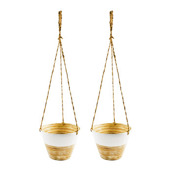 Hanging Bamboo Planter - Set of 2 - White