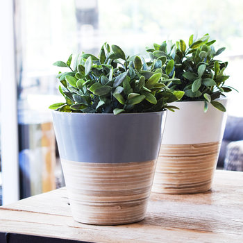 Bamboo Planter - Gray
