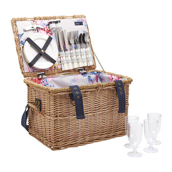 Rattan Picnic Basket - Grey Whitstable Floral