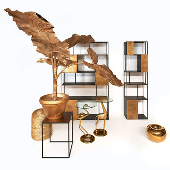 Gold Plated Crane Side Table
