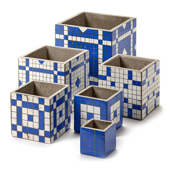 Marie Mosaic Blue/White Square Plant Pot - 22cm