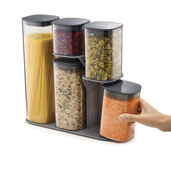 Podium Storage Jar Set with Stand - Grey - 5 Piece
