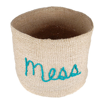 'Mess' Embroidered Hand Woven Basket
