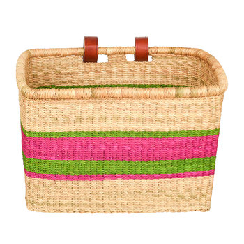 Akoo Hand Woven Bicycle Basket - Pink/Green Stripe