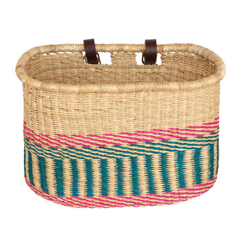 Apana Hand Woven Bicycle Basket - Pink/Blue Stripe