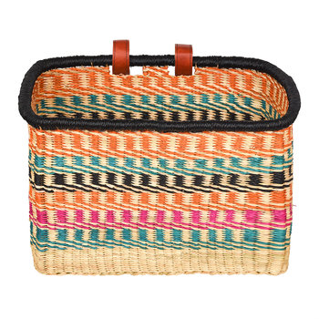 Ashanti Hand Woven Bicycle Basket - Multicolour Zigzag
