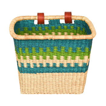 Awia Hand Woven Bicycle Basket - Blue/Green