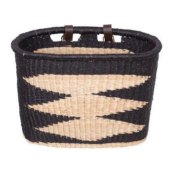 Ayme Hand Woven Bicycle Basket - Black/Natural Diamond