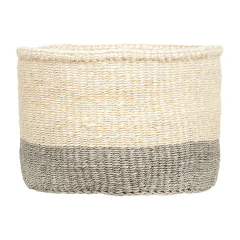 Colour Block Itale Hand Woven Basket - Grey