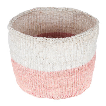Colour Block Jioni Hand Woven Basket - Pink