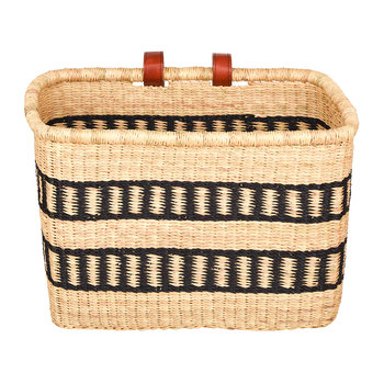 Fante Hand Woven Bicycle Basket - Black Stripe