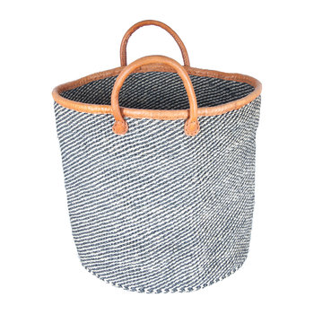 Herufi Hand Woven Laundry/Storage Basket - Black/White Speckled