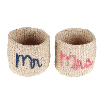 Mr & Mrs Embroidered Hand Woven Baskets - Set of 2