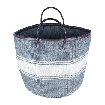 Porini Hand Woven Laundry/Storage Basket - Grey/White Stripe