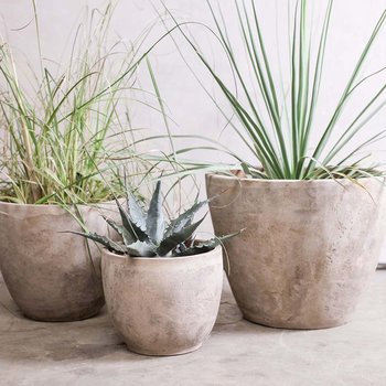 Affiti Clay Planter - Antique Grey