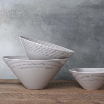 Bria Ceramic Serving Bowl - Medium - Grey Dots