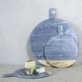 Bwari Round Marble & Mango Wood Serving Board - Grey