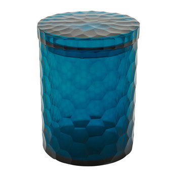Chisel Cut Glass Storage Pot - Midnight Blue