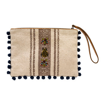 Rose Gold Beetle Pouch with Pom Pom Trim
