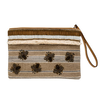 Stripy Bee Embellished Pouch