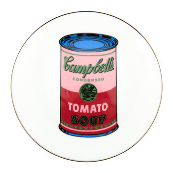 Assiette Andy Warhol - Soupe Campbell's - Rouge/Rose