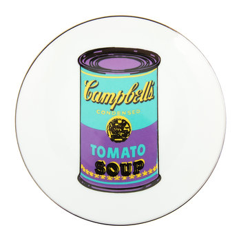 Assiette Andy Warhol - Soupe Campbell's - Turquoise/Violet