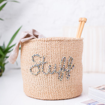 'Stuff' Embroidered Hand Woven Basket