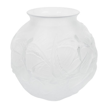 Hirondelles Round Crystal Vase - Clear