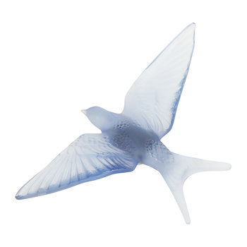 Hirondelles Swallow Wings Down Crystal Sculpture - Sapphire Blue