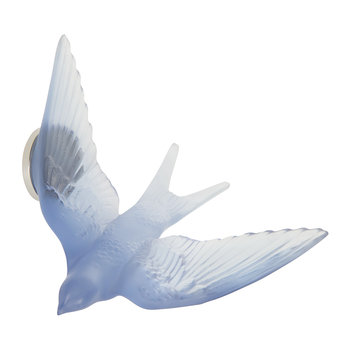 Hirondelles Swallow Wings Up Crystal Sculpture - Sapphire Blue