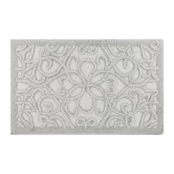Damask Bath Mat - Silver/White