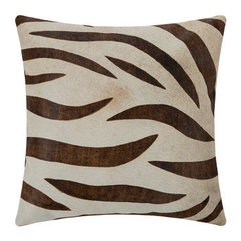Large Zebra Print Cowhide Cushion - 45x45cm - Natural/Beige